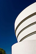 Detail view of the Guggenheim Museum by Architect Frank Lloyd Wright, an architecture icon on Fifth Avenue in Manhattan, New York City.