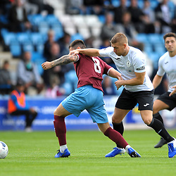 TELFORD COPYRIGHT MIKE SHERIDAN Darryl Knights of Telford takes on Liam Agnew of Gateshead during the National League North fixture between AFC Telford United and Gateshead FC at the New Bucks Head Stadium on Saturday, August 10, 2019<br /> <br /> Picture credit: Mike Sheridan<br /> <br /> MS201920-005