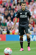 Philippe Coutinho during the Barclays Premier League match between Stoke City and Liverpool at the Britannia Stadium, Stoke-on-Trent, England on 9 August 2015. Photo by Alan Franklin.
