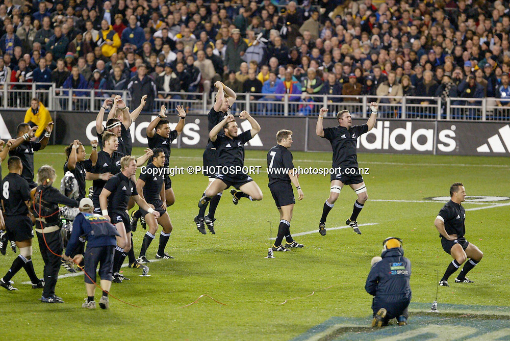 16 August 2003, International Rugby Union, Bledisloe Cup, New Zealand vs Australia, Eden Park, Auckland, New Zealand.<br />Haka. All Blacks won 21-17 to take back the Bledisloe Cup.<br />Pic: Sandra Teddy/Photosport