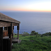 In Big Sur, view to the ocean at sunset