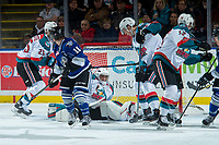 KELOWNA, CANADA - FEBRUARY 12: James Porter #1 of the Kelowna Rockets makes a first period save against the Victoria Royals  on February 12, 2018 at Prospera Place in Kelowna, British Columbia, Canada.  (Photo by Marissa Baecker/Shoot the Breeze)  *** Local Caption ***