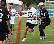 KAPOLEI - FEBRUARY 9:  Marcus Allen, member of the Pro Football Hall of Fame and former running back for the Los Angeles Raiders, corners Rod Woodson, former defensive back for the Pittsburgh Steelers and other NFL teams, while participating in a NFL legends flag football game during the 2006 NFL Pro Bowl week at the Ko Olina resort on February 9, 2006 in Kapolei, Hawaii. ©Paul Spinelli/SpinPhotos *** Local Caption *** Rod Woodson;Marcus Allen