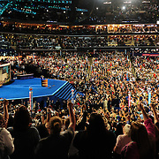 Former Michigan Governor and political commentator Jennifer Granholm fires up the crowd at the 2012 Democratic National Convention