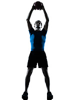 one caucasian man exercising workout holding fitness ball posture in silhouette studio  isolated on white background