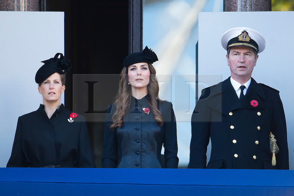 © London News Pictures. 10/11/2013. London, UK. Sophie, Countess of Wessex (left) and Catherine Duchess of Cambridge (centre) looking over during the Remembrance Day Ceremony at the Cenotaph war memorial in London, United Kingdom, on November 10, 2013 . Royalty and Politicians joined the rest of the county in honouring the war dead by gathering at the iconic memorial to lay wreaths and observe two minutes silence. Photo Credit: Ben Cawthra/LNP
