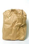 wrinkled paper lunch bag