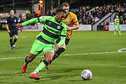 Forest Green Rovers Tahvon Campbell(14) during the EFL Sky Bet League 2 match between Cambridge United and Forest Green Rovers at the Cambs Glass Stadium, Cambridge, England on 2 October 2018.