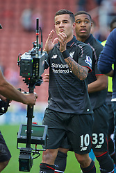 STOKE-ON-TRENT, ENGLAND - Sunday, August 9, 2015: Liverpool's match-winning goal-scorer Philippe Coutinho Correia after the 1-0 victory over Stoke City during the Premier League match at the Britannia Stadium. (Pic by David Rawcliffe/Propaganda)