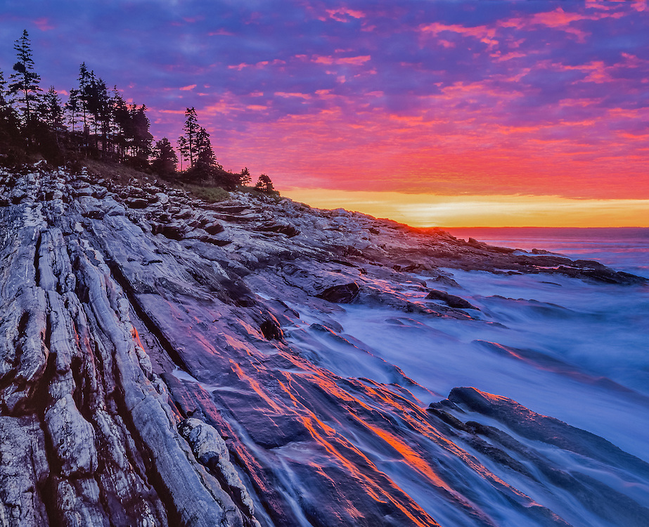 Sunrise & surf, with reflections on rock ledge, Pemaquid Point, ME