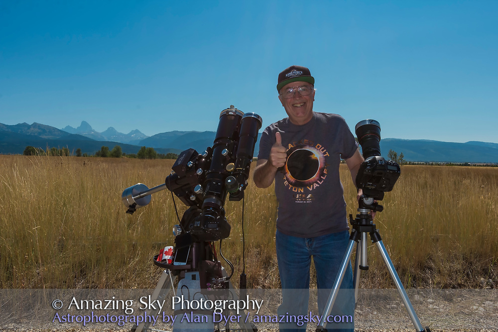 Me at the 2017 total solar eclipse celebrating post eclipse with two of the camera systems I used, for close-up stills through a telescope and for 4K video through a telephoto lens.