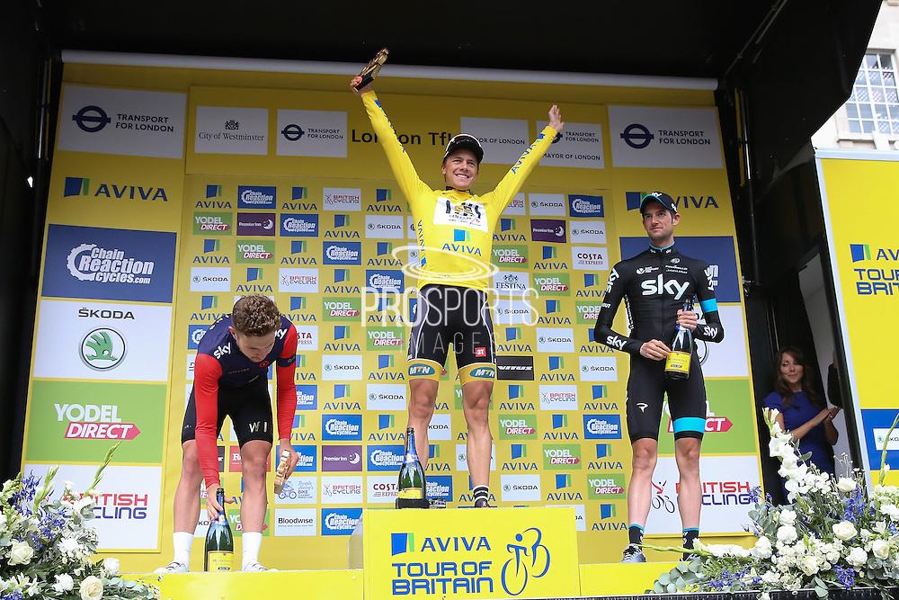 Edvard Boasson Hagen celebrates winning the Aviva Tour of Britain London Stage eight, Regent Street, London, United Kingdom on 13 September 2015. Photo by Phil Duncan.
