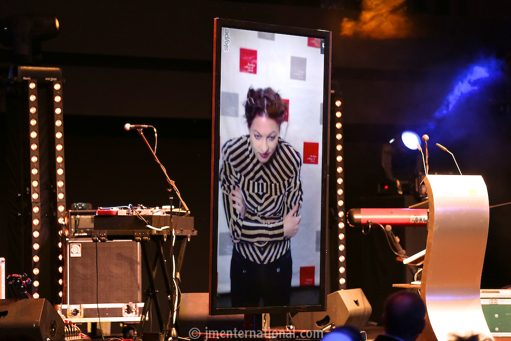 Amanda Palmer joining the show via an internet video link from Boston in the USA to receive the Industry Pioneer award from Featured Artists Coalition (FAC) Board member Hal Ritson. The Artist and Manager Awards 2012, held at The Troxy, London. Tuesday, Nov.27, 2012 (Photo/John Marshall JME)