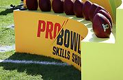 Jan 23, 2019; Kissimmee, FL, USA; The Pro Bowl game ball is displayed on a ball holder during the 2019 Pro Bowl Skills Challenge at ESPN Wide World of Sports Complex. (Steve Jacobson/Image of Sport)