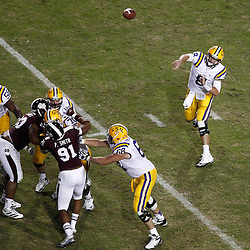 November 10, 2012; Baton Rouge, LA, USA;  LSU Tigers quarterback Zach Mettenberger (8) throws against the Mississippi State Bulldogs during the second half of a game at Tiger Stadium.  LSU defeated Mississippi State 37-17. Mandatory Credit: Derick E. Hingle-US PRESSWIRE