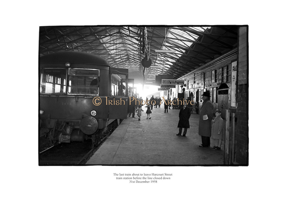 The last train about to leave Harcourt Street Station, Dublin before the line closed down.<br /> <br /> 31st December 1958<br /> 31/12/1958