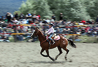 Small girl riding horse in the barrel race at Te Anau rodeo.