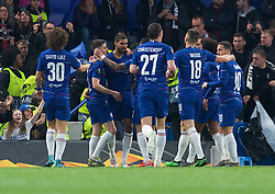 09.05.2019, Stamford Bridge, London, ENG, UEFA EL, FC Chelsea vs Eintracht Frankfurt, Halbfinale, Rückspiel, im Bild Ruben Loftus-Cheek of Chelsea(3rd left) celebrates after scoring the opening goal // Ruben Loftus-Cheek of Chelsea(3rd left) celebrates after scoring the opening goal during the UEFA Europa League semifinal 2nd leg match between FC Chelsea and Eintracht Frankfurt at the Stamford Bridge in London, Great Britain on 2019/05/09. EXPA Pictures © 2019, PhotoCredit: EXPA/ Focus Images/ Alan Stanford<br /> <br /> *****ATTENTION - for AUT, GER, FRA, ITA, SUI, POL, CRO, SLO only*****