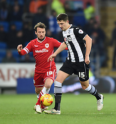 Cardiff City's Adam Le Fondre closes in on Watford's Craig Cathcart - Photo mandatory by-line: Paul Knight/JMP - Mobile: 07966 386802 - 28/12/2014 - SPORT - Football - Cardiff - Cardiff City Stadium - Cardiff City v Watford - Sky Bet Championship