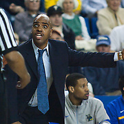 02/01/12 Newark DE: Delaware Men's Head Coach Monté Ross argue with the official during a Colonial Athletic Association conference Basketball Game against George Mason Wed, Feb. 1, 2012 at the Bob Carpenter Center in Newark Delaware.