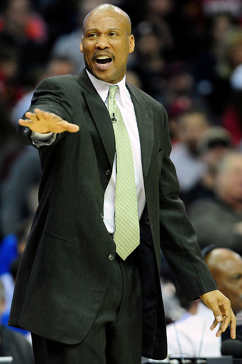 Feb. 23, 2011; Cleveland, OH, USA; Cleveland Cavaliers head coach Byron Scott yells to his players during the third quarter against the Houston Rockets at Quicken Loans Arena. The Rockets beat the Cavaliers 124-119. Mandatory Credit: Jason Miller-US PRESSWIRE