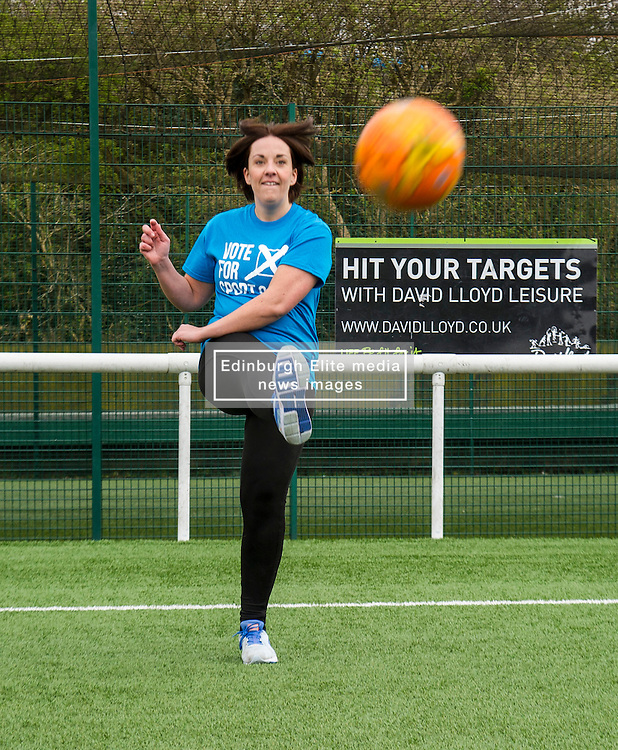 Pictured: Despite the advice on the board behind her, Kezia Dugdale fails to hit the photographers<br /> <br /> Scottish Labour leader, Kezia Dugdale visited Spartans Community Football Academy' 'Little Miss Kickers' programme - and met some of the players involved in a programme designed to encourage the social and sporting development of girls aged 5-8, supported by Scottish FA qualified coaches.<br /> <br /> Ger Harley | EEm 15 April 2016