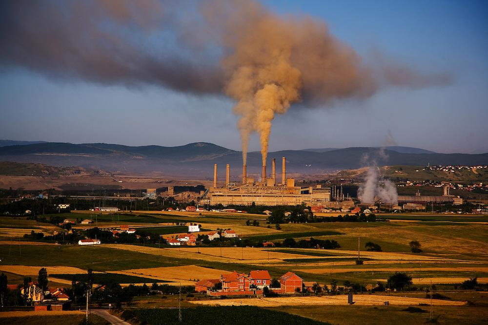 View of Kosova A powerplant at dawn...Gazimestan, Kosovo, Serbia.