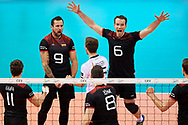 Poland, Krakow - 2017 September 03: (L) Georg Grozer and Denys Kaliberda with their team mates celebrate winning point while final match between Germany and Russia  during Lotto Eurovolleyball Poland 2017 - European Championships in volleyball at Tauron Arena on September 03, 2017 in Krakow, Poland.<br /> <br /> Mandatory credit:<br /> Photo by © Adam Nurkiewicz<br /> <br /> Adam Nurkiewicz declares that he has no rights to the image of people at the photographs of his authorship.<br /> <br /> Picture also available in RAW (NEF) or TIFF format on special request.<br /> <br /> Any editorial, commercial or promotional use requires written permission from the author of image.
