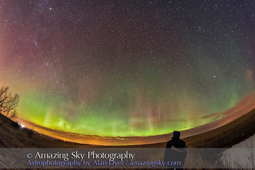 An aurora self-portrait, March 1, 2017, from home, with a brief display across the northern sky. The Big Dipper is above centre. <br /> <br /> A single 30-second exposure with the 12mm Rokinon lens at f/2.8 and Nikon D750 at ISO 3200.