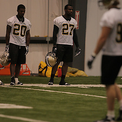 18 June 2009: Saints defensive backs Randall Gay (20) and rookie first round draft selection Malcom Jenkins (27) participate in drills during the New Orleans Saints Organized Team Activities held at the team's indoor practice facility in Metairie, Louisiana.