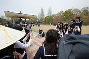 Gyeongju National Museum. Group of school girls visiting.