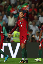 August 31, 2017 - Porto, Porto, Portugal - Portugal's forward Cristiano Ronaldo celebrates after scoring a goal during the FIFA World Cup Russia 2018 qualifier match between Portugal and Faroe Islands at Bessa Sec XXI Stadium on August 31, 2017 in Porto, Portugal. (Credit Image: © Dpi/NurPhoto via ZUMA Press)