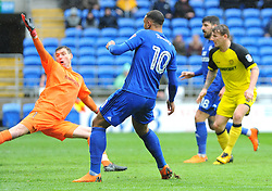 Kenneth Zohore of Cardiff City scores goal making it 1-0 - Mandatory by-line: Nizaam Jones/JMP- 30/03/2018 -  FOOTBALL -  Cardiff City Stadium- Cardiff, Wales -  Cardiff City v Burton Albion - Sky Bet Championship