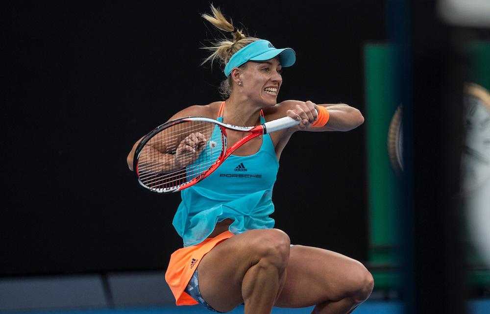 Angelique Kerber of Germany takes on Lesia Tsurenko of Ukraine during their first round match on day one of the 2017 Australian Open in Melbourne, Australia on January 16, 2017.<br /> (Ben Solomon/Tennis Australia)