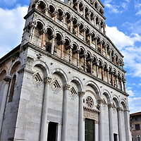 San Michele in Foro Western Fa&ccedil;ade in Lucca, Italy <br />