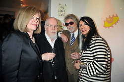 Left to right, SIR PETER & LADY BLAKE, JUSTIN DE VILLENEUVE and his wife SUE at a private view entitled 'No Love Lost' by artists Daisy de Villeneuve and Natasha Law held at Eleven, 11 Eccleston Street, London SW1 on 31st March 2009.