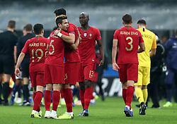 November 17, 2018 - Milan, Italy - Italy v Portugal - UEFA Nations League League A..Portugal celebrate the qualification to the final four at San Siro Stadium in Milan, Italy on November 17, 2018. (Credit Image: © Matteo Ciambelli/NurPhoto via ZUMA Press)