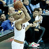 07 June 2017: Cleveland Cavaliers forward Richard Jefferson (24) takes a jump shot during the Golden State Warriors 118-113 victory over the Cleveland Cavaliers, in game 3 of the 2017 NBA Finals, at  the Quicken Loans Arena, Cleveland, Ohio, USA.