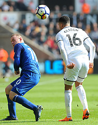 Martin Olsson of Swansea City competes with Wayne Rooney of Everton - Mandatory by-line: Nizaam Jones/JMP - 14/04/2018 - FOOTBALL - Liberty Stadium - Swansea, Wales - Swansea City v Everton - Premier League