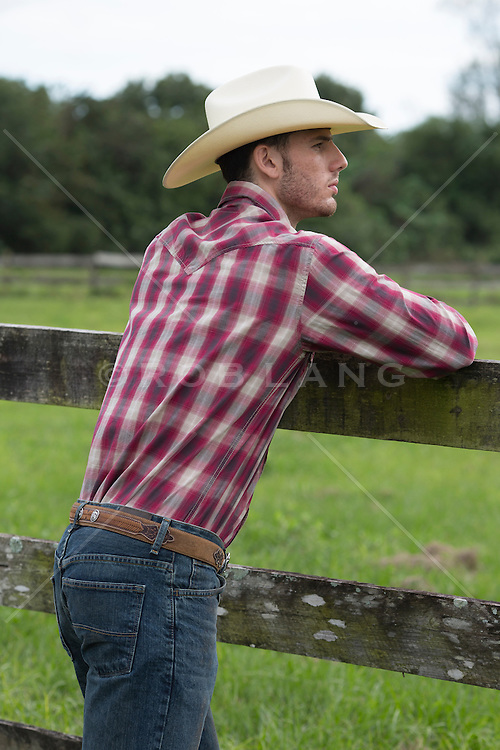 cowboy leaning on a fence looking at a green field