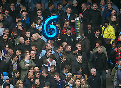MANCHESTER, ENGLAND - Sunday, January 8, 2012: Manchester City supporters remember their 6-1 victory over Manchester United with balloons during the FA Cup 3rd Round match at the City of Manchester Stadium. (Pic by David Rawcliffe/Propaganda)