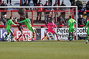 Accrington Stanley's  Callum Johnson shoots at goal scores a goal 1-0 during the EFL Sky Bet League 2 match between Accrington Stanley and Forest Green Rovers at the Wham Stadium, Accrington, England on 17 March 2018. Picture by Shane Healey.