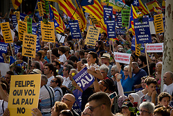 August 26, 2017 - Barcelona, Catalonia, Spain - In Barcelona people takes part in a march against terrorist attacks. Half a million people have demonstrated through  streets under the slogan We Are Not Afraid  after that a terror attack in Las Ramblas of Barcelona and in the village of Cambrils killed 15 people last week. (Credit Image: © Jordi Boixareu via ZUMA Wire)
