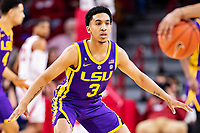 FAYETTEVILLE, AR - JANUARY 12:  Tremont Waters #3 of the LSU Tigers plays defense during a game against the Arkansas Razorbacks at Bud Walton Arena on January 12, 2019 in Fayetteville, Arkansas.  The Tigers defeated the Razorbacks 94-88.  (Photo by Wesley Hitt/Getty Images) *** Local Caption *** Tremont Waters