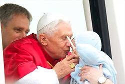 06.11.2010, A Coruna, Santiago de Compostela, ESP, Pope Benedict XVI visit Spain, im Bild Pope Benedict XVI is welcomed by Prince Felipe  and Princess Letizia upon his arrival at the Lavacolla airport, in Santiago de Compostela. EXPA Pictures © 2010, PhotoCredit: EXPA/ Alterphotos/ Cesar Cebolla +++++ ATTENTION - OUT OF SPAIN / ESP +++++