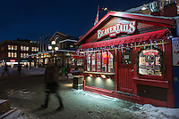 Night view along Georges Street of Beavertails pastry shop and Byward Market, Ottawa