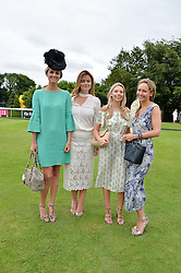 Left to right, BRYONY DANIELS, LADY NATASHA FINCH, SOPHIE CAULCUTT  and LAVINIA BRENNAN at day 3 of the Qatar Glorious Goodwood Festival at Goodwood Racecourse, Chechester, West Sussex on 28th July 2016.