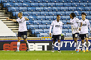 Darren Pratley of Bolton Wanderers (left) celebrates scoring the opening goal against Millwall during the Sky Bet Championship match at The Den, London<br /> Picture by David Horn/Focus Images Ltd +44 7545 970036<br /> 19/12/2014