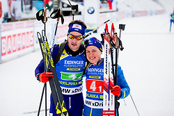Anastasiya Merkushyna (UKR) and Artem Tyshchenko (UKR) during Single Mixed Relay at day 1 of IBU Biathlon World Cup 2018/19 Pokljuka, on December 2, 2018 in Rudno polje, Pokljuka, Pokljuka, Slovenia. Photo by Ziga Zupan / Sportida