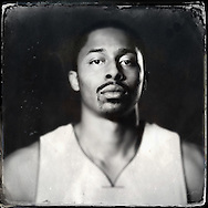 Sep 29, 2014; Auburn Hills, MI, USA;  (Editor's Note: Photo was post-processed creating a digital tintype) Detroit Pistons guard Spencer Dinwiddie (8) during media day at the Pistons practice facility. Mandatory Credit: Rick Osentoski-USA TODAY Sports